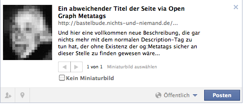 Facebook: Seite mit OpenGrapg Tags
