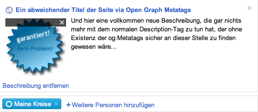 Gogle+: Seite mit OpenGraph Tags